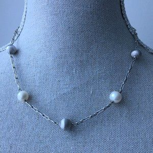 Cultured Pearl and Sterling Silver Bead Necklace